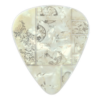 Nature Collage Asian Bird Flowers Squares Scroll Pearl Celluloid Guitar Pick