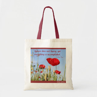 Nature does not Hurry .poppies sky, Linda Gilbert Tote Bag