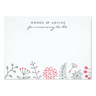 Nature doodle pale red baby shower advice card