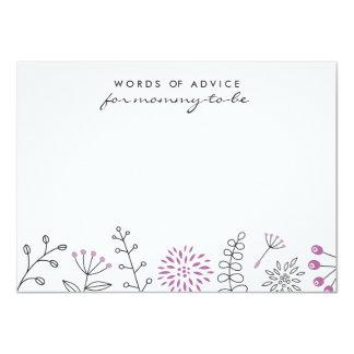 Nature doodle purple baby shower advice card