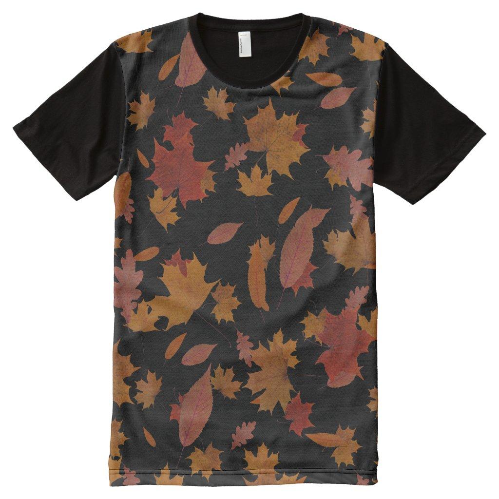 Nature Falling Autumn Leaves on Custom Black