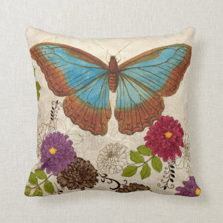 Nature Floral  Flower Butterfly Throw Pillow