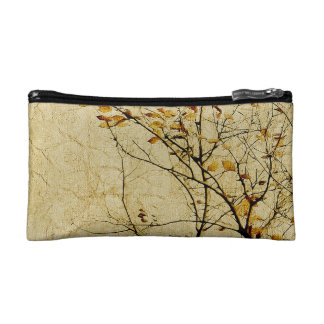 Nature Floral Print Collage in Warm Tones Cosmetics Bags