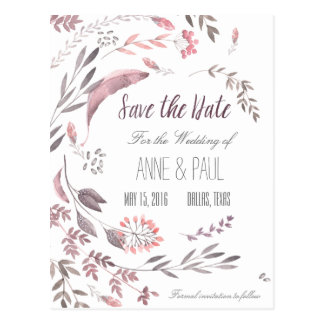 Nature Floral Save the Date II Postcard