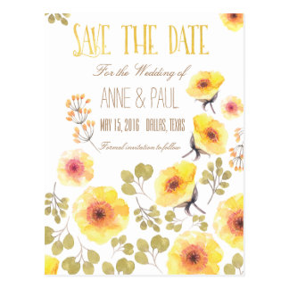 Nature Floral Save the Date Postcard