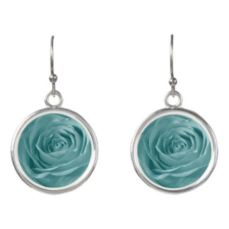 Nature Floral Trendy Aqua Abstract Rose Pic Earrings