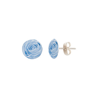 Nature Floral Trendy Light Blue Abstract Rose Pic Earrings