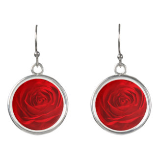 Nature Floral Vibrant Red Rose Abstract Pic Earrings