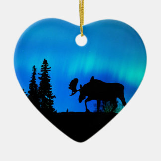 Nature Forces Night Phenomenon Double-Sided Heart Ceramic Christmas Ornament
