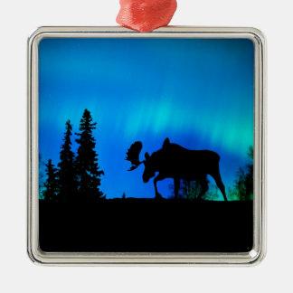 Nature Forces Night Phenomenon Square Metal Christmas Ornament