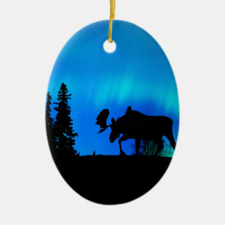 Nature Forces Night Phenomenon Double-Sided Oval Ceramic Christmas Ornament