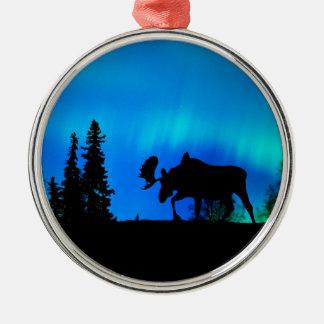 Nature Forces Night Phenomenon Round Metal Christmas Ornament