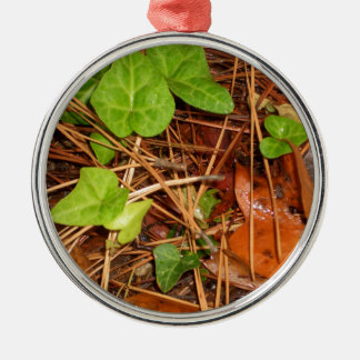 Nature Forest Floor English Ivy Rainy Leaves Metal Ornament