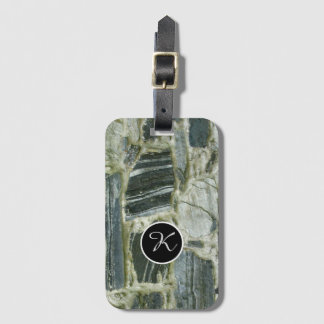 Nature Geology Stone Wall Structure Monogram Luggage Tag