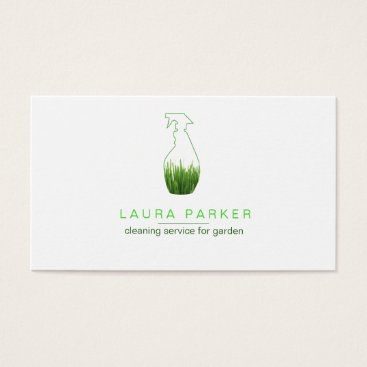 Nature Green Grass Spray Bottle Cleaning Service Business Card