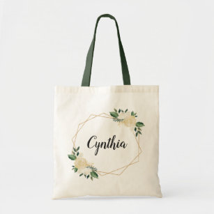 51cde920a Nature Green Ivory Gold Watercolor Floral Tote Bag