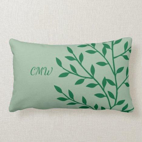 Nature Green Leaves Botanical Tropical Monogram Lumbar Pillow