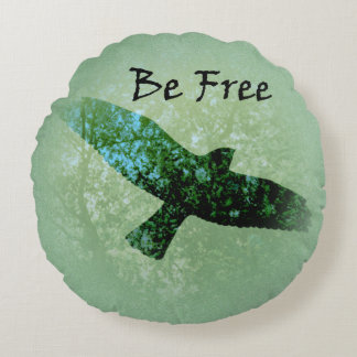 Nature Green Trees Bird Soaring Crow Be Free Round Pillow