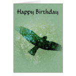 Nature Green Trees Bird Soaring Crow Birthday Greeting Cards