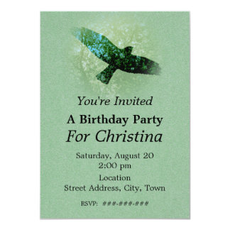 Nature Green Trees Bird Soaring Crow Birthday Card