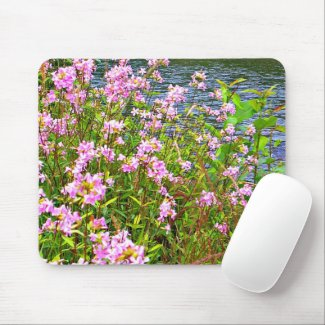 Nature, green, wildflowers, pink, water mouse pad