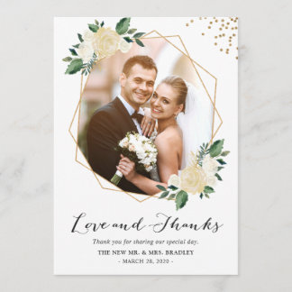 Nature Greenery Floral Wedding Photo Thank You