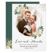 Nature Greenery Floral Wedding Photo Thank You Card