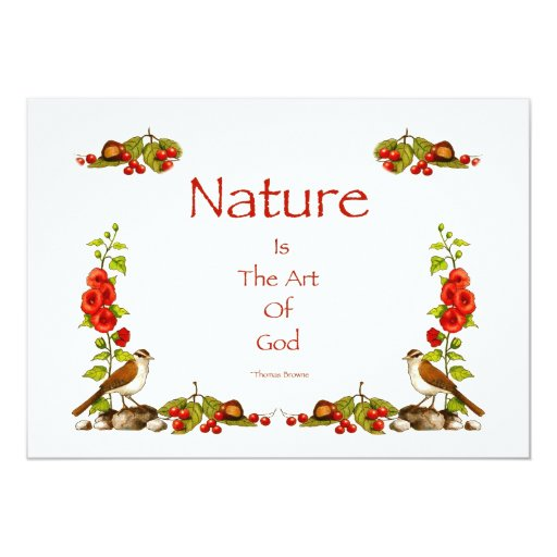 "Nature: Hand-Drawn Border: Flowers, Bird, Berries 5"" X 7"" Invitation Card"