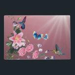 """Nature Hummingbirds Flowers Butterflies Placemats<br><div class=""""desc"""">Nature Hummingbirds Flowers Butterflies Placemats</div>"""