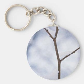 Nature In White Basic Round Button Keychain