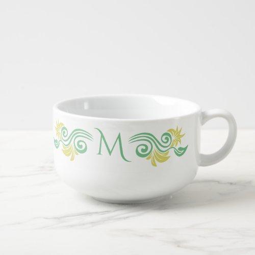Nature-Inspired custom monogram soup mug
