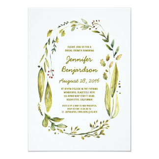 nature inspired cute laurel bridal shower card