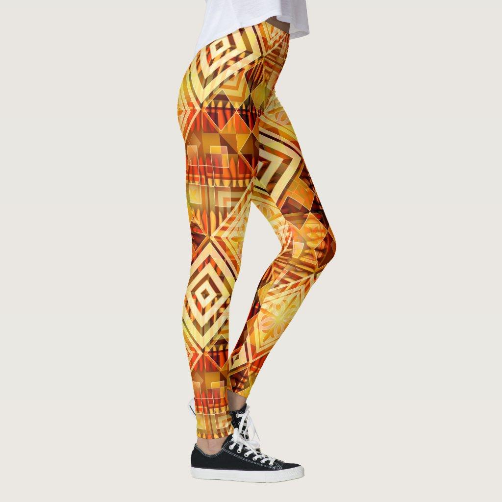 Nature Inspired Geometric Pattern Legging