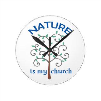 NATURE IS MY CHURCH ROUND WALL CLOCKS