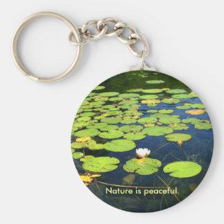 Nature is peaceful keychain. basic round button keychain