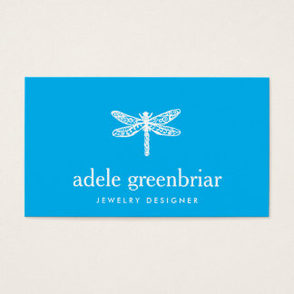 Nature Jewelry Designer Dragonfly Logo Cobalt Blue Business Card