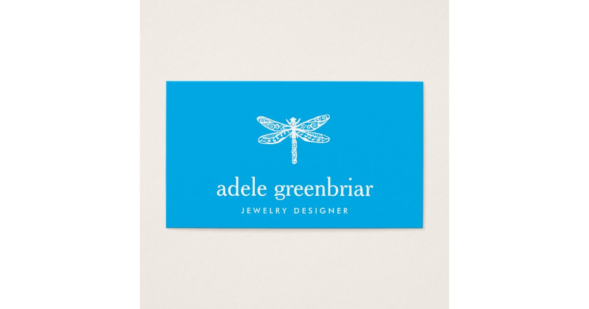 Nature Jewelry Designer Dragonfly Logo Cobalt Blue Business Card ...