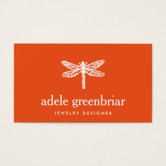 Nature Jewelry Designer Dragonfly Logo Orange Business Card