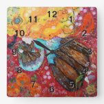 Nature Lady and the Seasons of the Year. Square Wallclock