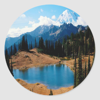 Nature Lakeside Natures Mountain Classic Round Sticker