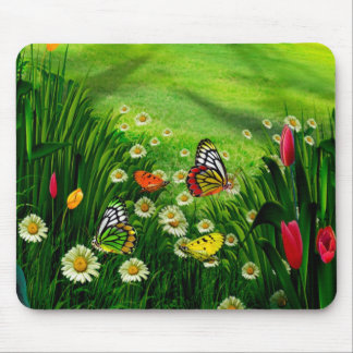 Nature Landscape- Butterfly's & Flowers Mouse Pad