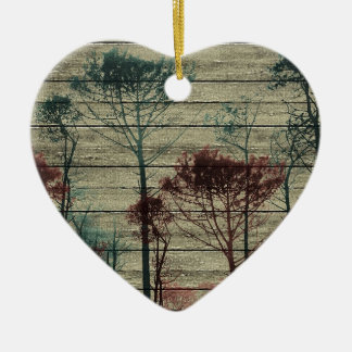 Nature Landscape Composition Double-Sided Heart Ceramic Christmas Ornament