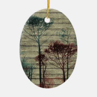 Nature Landscape Composition Double-Sided Oval Ceramic Christmas Ornament