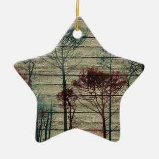 Nature Landscape Composition Double-Sided Star Ceramic Christmas Ornament