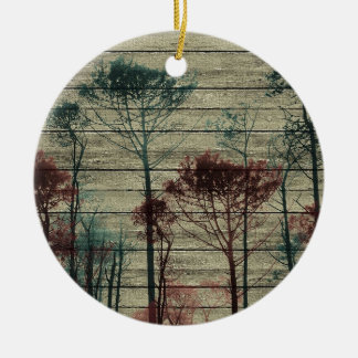 Nature Landscape Composition Double-Sided Ceramic Round Christmas Ornament