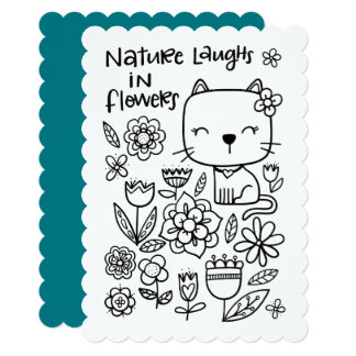 Nature Laughs In Flowers, Color Me, Coloring Page Card