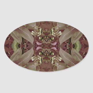 Nature Leaves Pattern Frame Oval Stickers