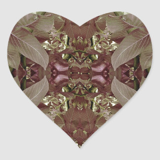 Nature Leaves Pattern Frame Heart Stickers