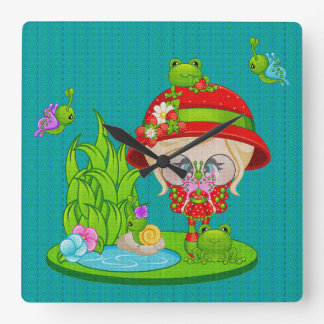 Nature Lover Frog Faery Square Wall Clock