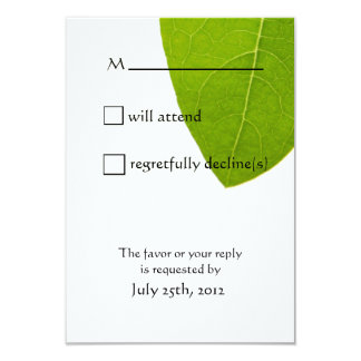 Nature Lovers Green Leaf On White Wedding RSVP 3.5x5 Paper Invitation Card